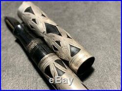 WATERMAN 452 1/2V Fountain Ring Pen Filigree Sterling SILVER Overlay 14k nib