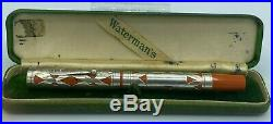 WATERMAN 452 Cardinal Fountain Pen Sterling Silver Filigree Overlay Restored box