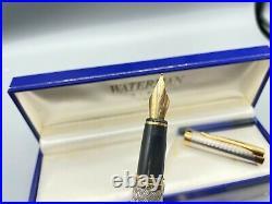 WATERMAN L'Etalon STERLING SILVER Fountain Pen 18K MED nib NEAR MINT Boxed