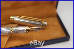 WATERMAN Man 100 GORDON Sterling Silver Fountain Pen 18K Fine nib 1st Gen Boxed