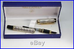 WATERMAN Man 100 GORDON Sterling Silver Fountain Pen 18K Med nib Excellent