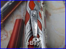 WATERMAN No. 420 Red Hard Rubber Fountain Pen with Sterling Silver Filigree 1912