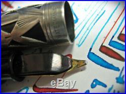Waterman 2.0mm Easy Flex Gold Nib 452 1/2V Sterling Silver Fountain Pen vtg 52