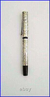 Waterman 454 Sterling Silver Hand Engraved Vine Overlay Ftn Pen Semiflex Nib