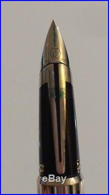 Waterman Edson Le Sterling Silver 18k 750 Nib (f) Fountain Pen