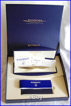 Waterman Edson Sterling Silver Limited Edition Fountain Pen Med Pt New In Box