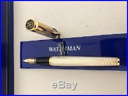Waterman Etalon Sterling Silver Fountain Pen 18k Gold Solid