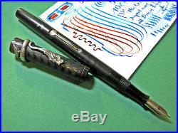 Waterman Flex Nib Sterling Silver Dragon Clip 52 1/2 Fountain Pen vtg Flexible