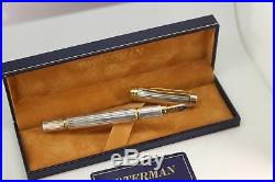 Waterman Limited Edition Le Man Sterling Silver Med Pt Fountain Pen New In Box
