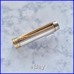 Waterman Man 100 Sterling Silver Gold Plated Trim Fountain Pen 18k Fine F Nib