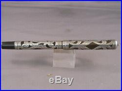 Waterman Vintage 412 Sterling Silver Overlay Eyedropper Pen-flexible fine