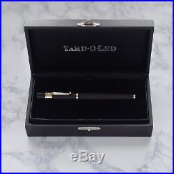 Yard O Led Retro Pocket Barley Finish Black & Sterling Silver Fountain Pen 18k