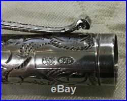 Yard-O-Led Viceroy Victorian Sterling Silver Fountain Pen 18K Nib Original Box M